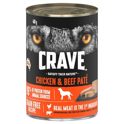 CRAVE Adult Chicken & Beef Pate Wet Dog Food 400G