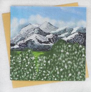 Holly & Bud Snowy mountain landscape Blank greeting card