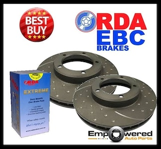 DIMPLED SLOTTED FRONT BRAKE ROTORS + PADS for Lexus GS450h V6 HYBRID 2006-2012