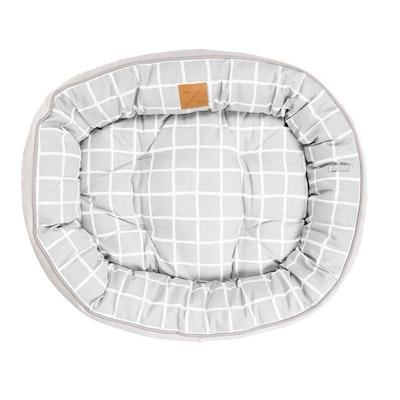 Mog & Bone 4 Seasons Dog Reversible Circular Bed Grey Check Print - 4 Sizes