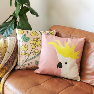 Cockatoo Cushion Cover in Rose