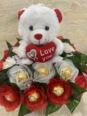 HiWish Gifts Teddy with white & Red Rocher Roses Regular price