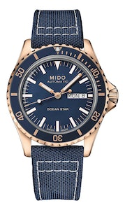 Mido Ocean Star Tribute - Stainless Steel with Rose Gold PVD - Blue Fabric Strap