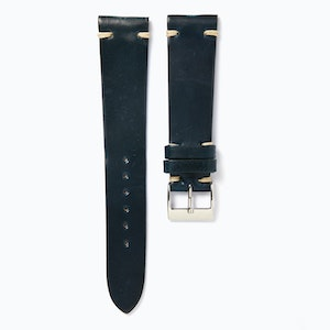 Time+Tide Watches  Blue-black + Cream Stitch Cordovan Leather Strap