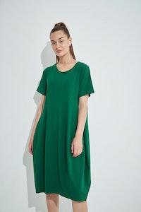 Tirelli - Short Sleeve Diagonal Dress - Pine Green