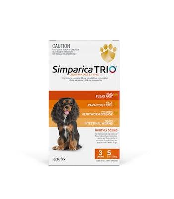 SIMPARICA TRIO Orange Flea, Tick & Worm Chews 5.1-10kg