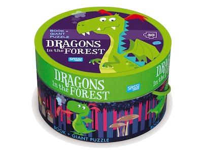 Sassi Junior Sassi - Dragon in the Forest Book & Giant Puzzle Set, 30 pcs