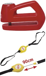 ABUS disc brake bike lock keyed with a 5mm pin in yellow