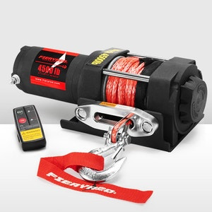 FIERYRED 4500LBS/2041KG Electric Winch Wireless Synthetic Rope Remote 12V ATV 4WD Boat