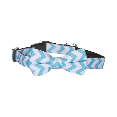 Hamish McBeth Bow Tie Dog Collar - Blue Chevron