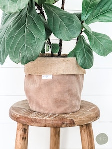 Pot Plant Cover - Cruze Nude Corduroy and Hessian Reversible