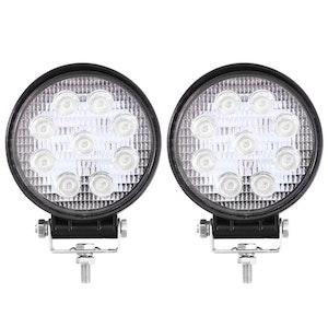 LIGHTFOX 2x 4inch Cree LED Work Lights Flood Combo Round Fog Lamp Reverse Offroad 4WD