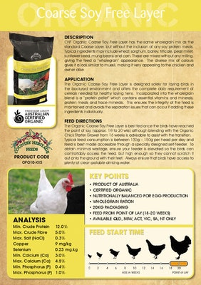 Country Heritage Organic Coarse Soy Fee Layer Chicken Feed 20kg