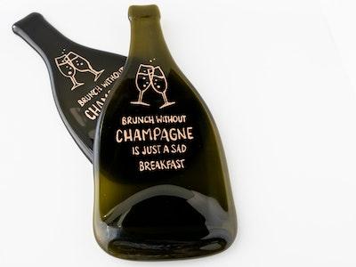 Upcycled wine bottle platter with handpainted wine meme