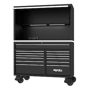 """Roller Cabinet Power Top Hutch 59"""" USA BLACK SP44740"""