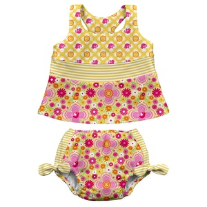 i play. Mix & Match 2pc Bow Tankini Set w/Built-in Reusable Absorbent Swim Diaper-Yellow Floral