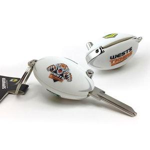 Creative Keys NRL Footy Flip Key Blank with Keyring LW4 - Wests Tigers