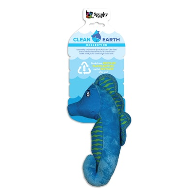 Spunky Pup Clean Earth Plush SeaHorse Dog Squeaker Toy - 2 Sizes