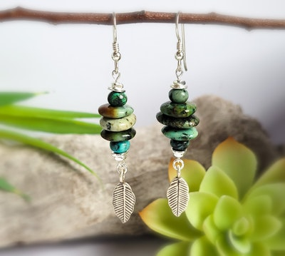 Uniqu-Lea Yours African Turquoise and Karen Hill Tribe Silver Earrings