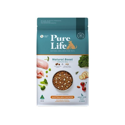PURE LIFE Natural Boost Chicken Dry Dog Food 8KG