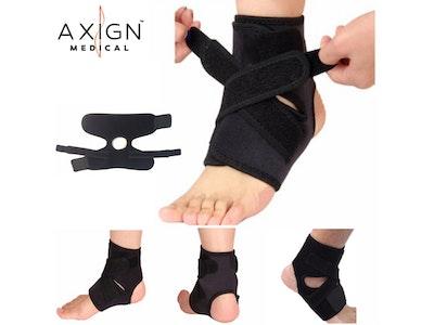 AXIGN Medical Ankle Support Brace Corrector Strap Elastic Adjustable Compression - Black