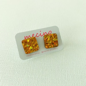 Sparkly Gold Square Studs - Acrylic Stud Earrings