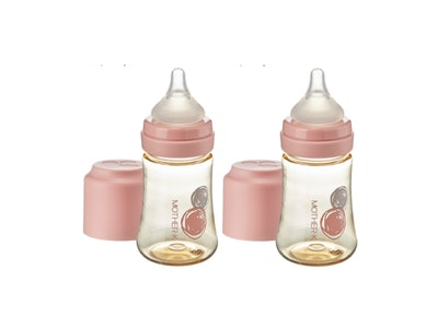 Mother-K PPSU Feeding Bottle 180ml - Pink (with SS teat) TWIN PACKS