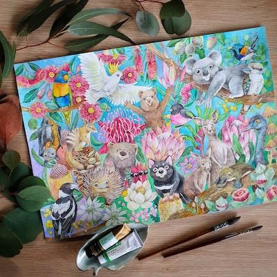 Watercolour by Cat Australian Animals Family Watercolour Art print