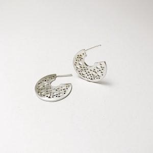 Small Sterling Silver hoopla stud earrings