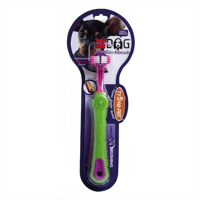 Triple Pet Ez-Dog Oral Care Pet Toothbrush for Small Breed Dogs