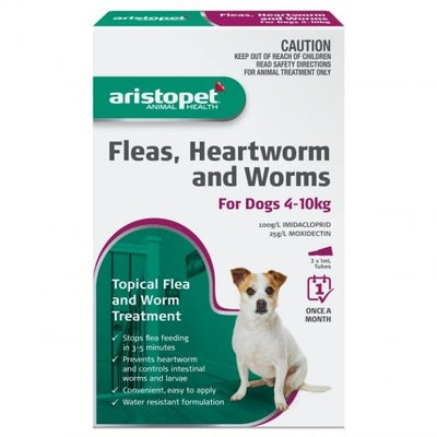 Aristopet Animal Health Fleas, Heartworm And Worms For Dogs 4-10Kg (3 packs)