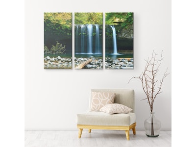 """Art Of A Kind Soothing Nature Waterfalls - 3 Piece Canvas Set 48x32"""" (16x32"""" ea.)"""