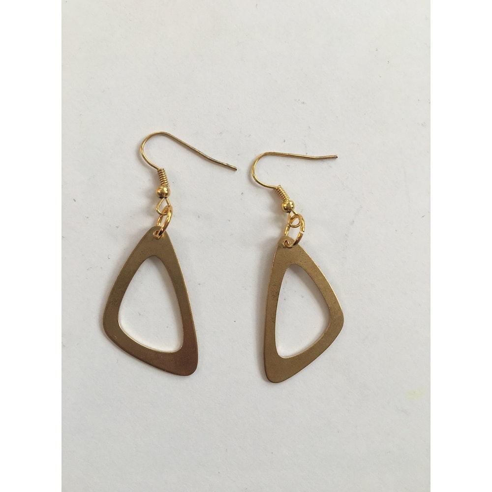 One of a Kind Club Brass Open Triangle Earrings