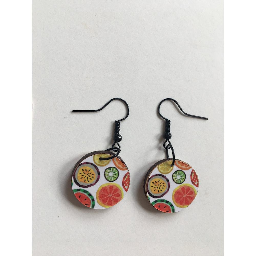 One of a Kind Club Fruity Jemma Skellett Print Earrings