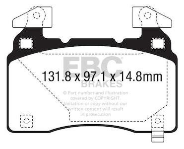 EBC YELLOW STUFF BRAKE PADS for Tesla Model S 2014-2017 DP43028