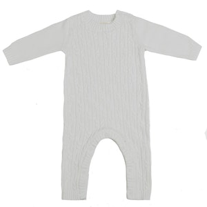 Jujo Baby Lattice Cable Onesie - Chalk