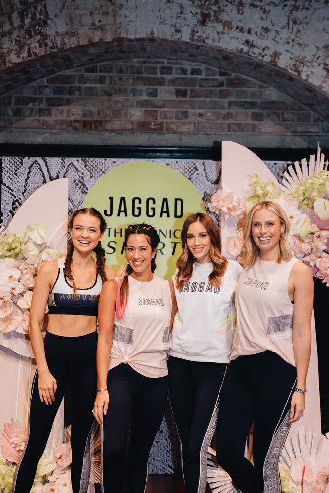 Laura Henshaw, Michelle Greene, Bec Judd and Sylvia Jefferies at JAGGAD x The ICONIC Sport capsule collection launch
