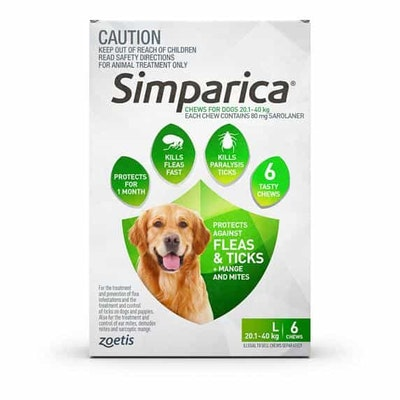 SIMPARICA Flea, Tick & Mite Treatment 20.1-40kg Dog