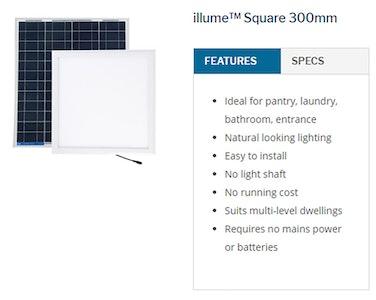 Sky Lights 300mm Square Solar Powered LED Kimberley Illume