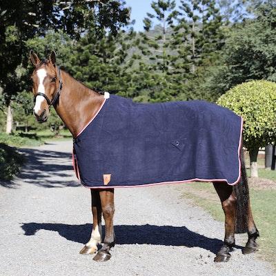 Capriole Equestrian Navy Fleece Rugs - Red Trim