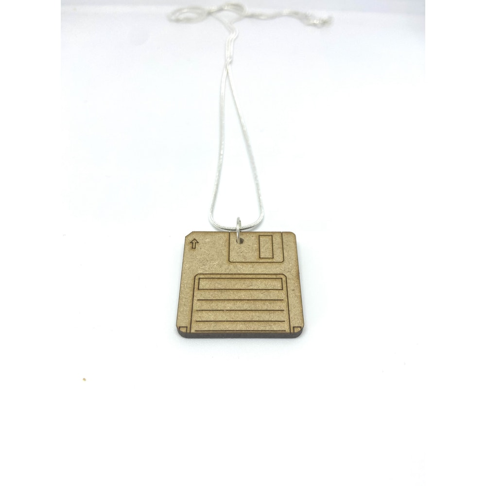 One of a Kind Club Wood Floppy Disc Necklace