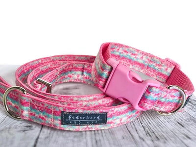 Cedarwood and Ash Pastel Pink and Aqua Tie Dye Dog Collar and Leash SET. (Dog Collar only is available in a separate listing)
