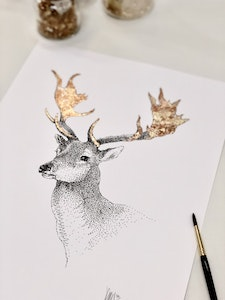 A3 'Deer Friend' Limited Edition Print with Hand-Applied Gold-Leaf Metals.