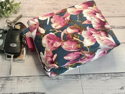 Cedarwood and Ash Vibrant Pink Blossom on Blue Dog Treat Holder/Belt Snap Bag. Perfect for Dog Training and walks
