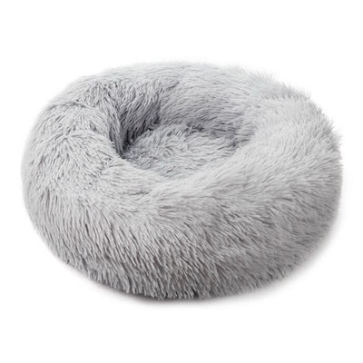 House of Pets Delight Soothing Calming Donut Pet Bed in Light Grey