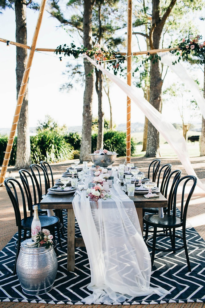 LENZO Bohemian Byron Bay Wedding Table Setting