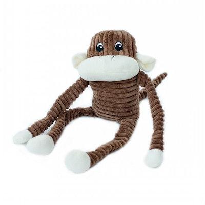 Zippy Paws Spencer Crinkle Monkey Plush Dog Squeaker Toy Brown - 2 Sizes