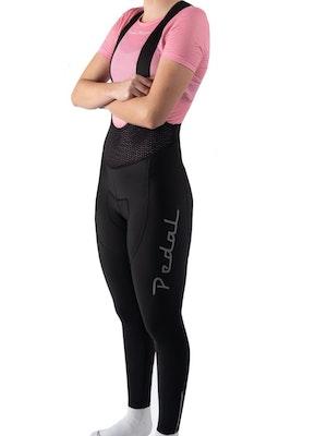 Pedal Mafia Women's Pro Thermal Long Bib - Black Reflective