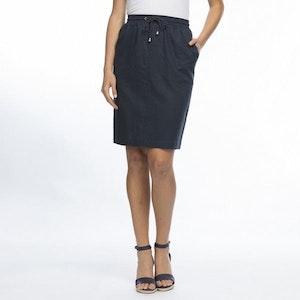 Gordon Smith Elastic Waist Linen Skirt - navy