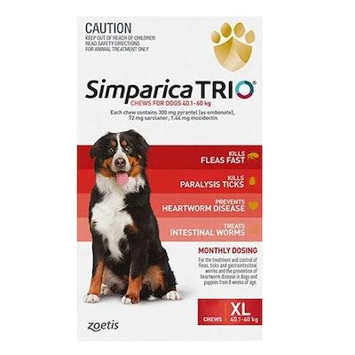 SIMPARICA Trio Flea & Tick Control for Dogs 40.1-60kg Red - 2 Sizes